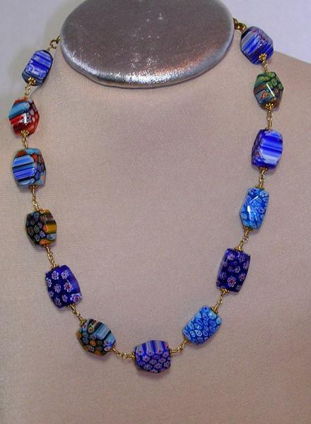 SOLD- Blue Millefiori Glass Bead Ensemble- Wire Wrapped Necklace, Bracelet &