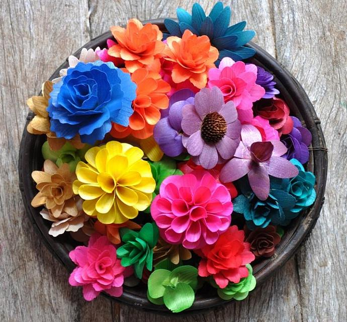 Wooden Flowers - Wholesale - Assorted Flowers Made of Thinly Shaved Birch and