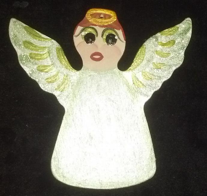 August/Peridot Custom Embellishment Hand painted Wooden Angel Ornament