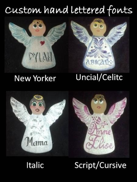 October/Pink Topaz Custom Embellishment Hand painted Wooden Angel Ornament