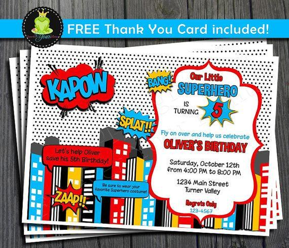 Free Comic Book Day Postcard: Superhero Invitation And FREE Thank You By