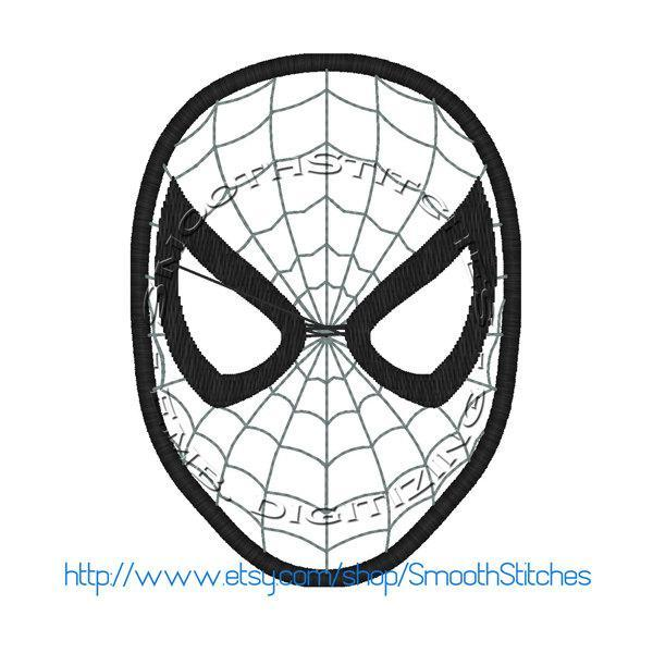 Spiderman Head Applique Design for Embroidery Machines. Size 4x4.  Instant