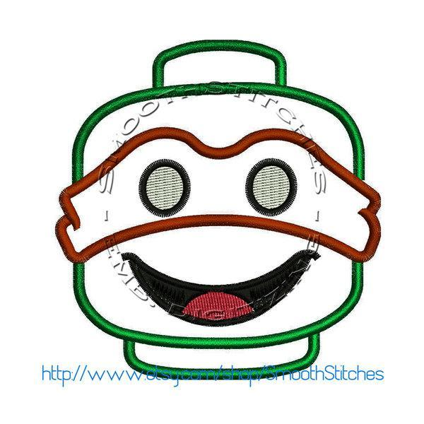 Ninja Turtle Block head Applique Design for Embroidery Machines. Size 4x4.