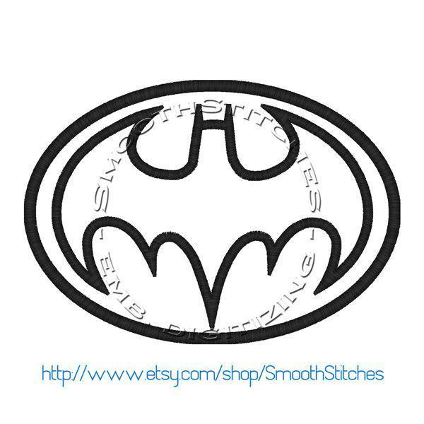 Batman Emblem Applique Design for Embroidery Machines. Size 6x10.  Instant