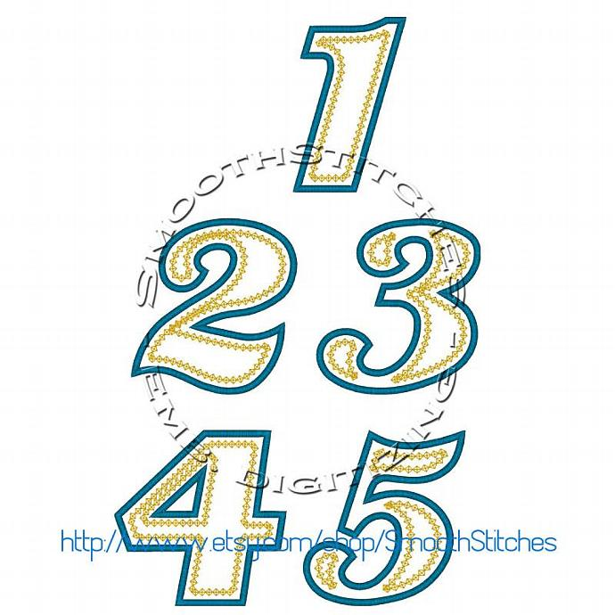 Birthday Applique Numbers 1-5 for Embroidery Machine. Size 4x4.  Instant