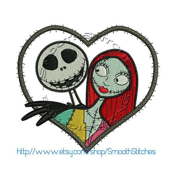Jack Skellington and Sally Heart Applique Design for Embroidery Machines. Size