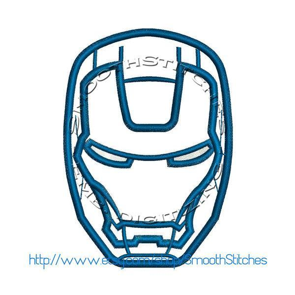 Iron Man Head Applique Design for Embroidery Machines