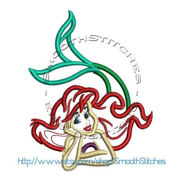 Ariel The Little Mermaid Applique Design for Embroidery Machines