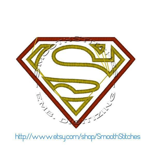 Superman Chest Emblem Applique Design for Embroidery Machine - Instant Download