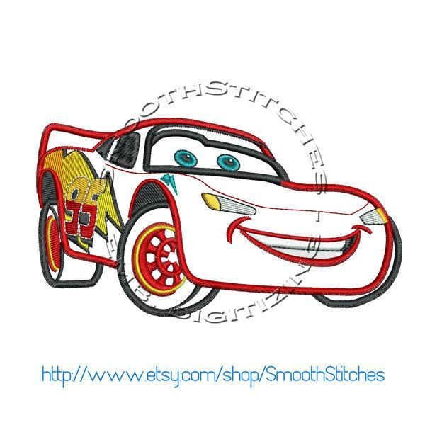 Lightning McQueen Cars Applique Design for Embroidery Machines. Size 6x10.