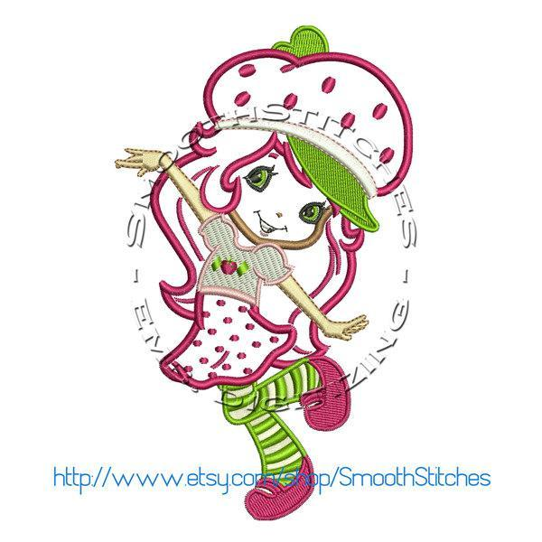 Strawberry Shortcake Applique Design for Embroidery Machines 5 x 7 - Instant