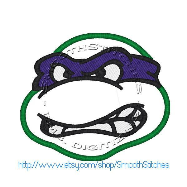 Ninja Turtle Head Applique Design for Embroidery Machines. Size 4x4.  Instant