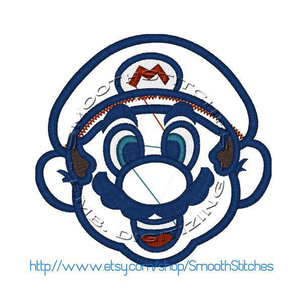 Super Mario Bros Head Applique Design for Embroidery Machine - Instant Download