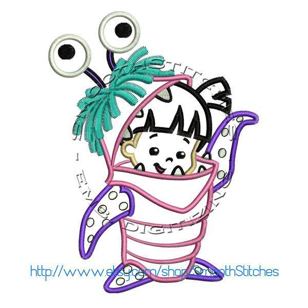 Boo Monster Suit Applique Design for Embroidery Machines. Size 5x7.  Instant