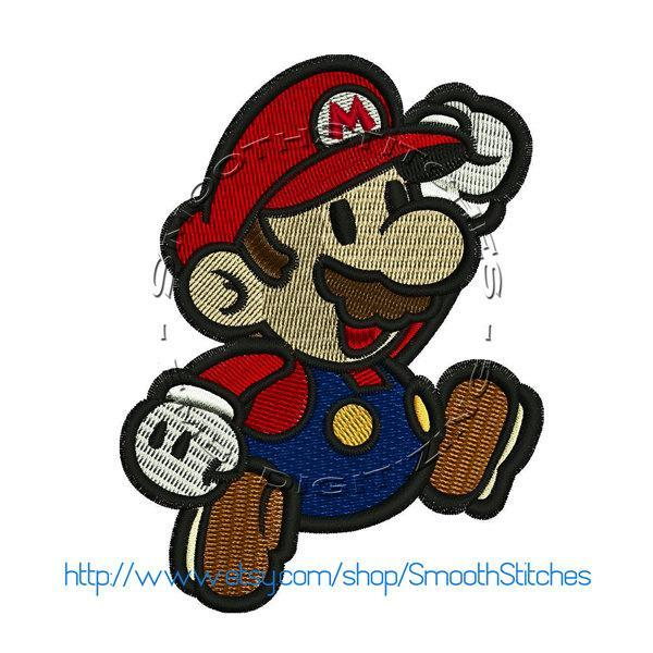 Super Paper Mario Design for Embroidery Machines. Size 4x4.  Instant Download