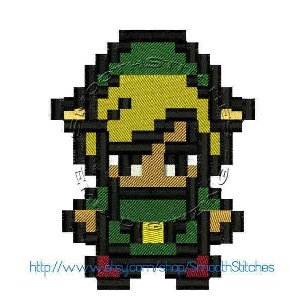 8 Bits Link Zelda Design for Embroidery Machines. Size 4x4.  Instant Download