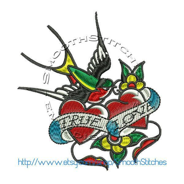 True Love Sparrow Tattoo Design for Embroidery Machines. Size 4x4.  Instant
