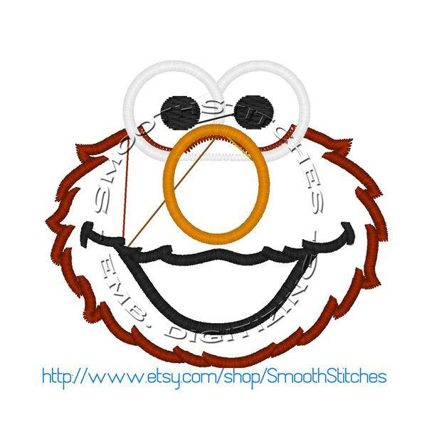 elmo head applique Design for Embroidery machines. Size 4x4.  Instant Download