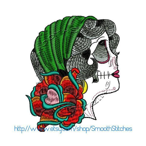 Skull Gypsy Tattoo Style Design for Embroidery Machine. Size 4x4.  Instant