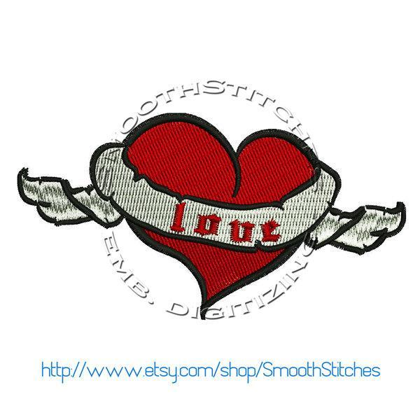 Winged Heart Tattoo Style Design for Embroidery Machines. Size 4x4.  Instant