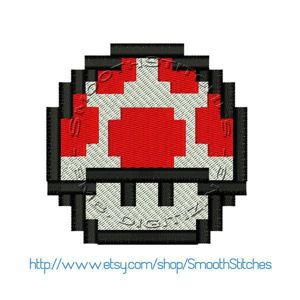 Super  Mario 1Up Mushroom 8 Bits Design for Embroidery Machines
