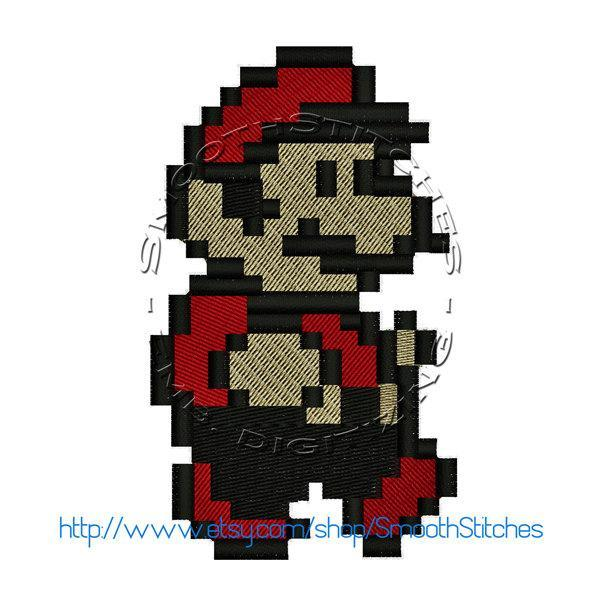 Super  Mario 8 Bits Design for Embroidery Machines. Size 4x4.  Instant Download