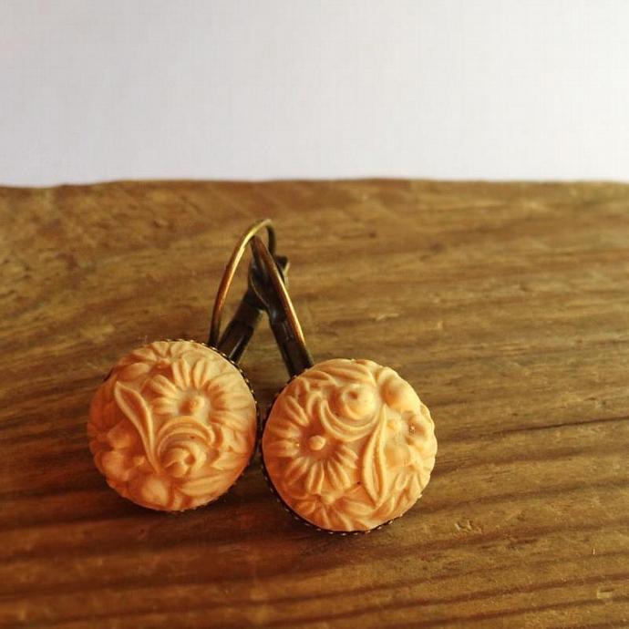 Sand color beige  flower earrings - light blue Cabochon earrings- every Day