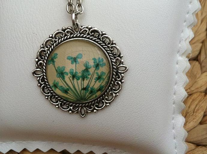 Pressed flower blue necklace with real pressed aqua blue Queen Annes flowers