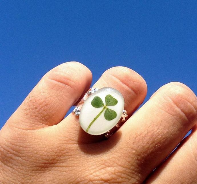 Clover ring plated filigree adjustable handmade leaf jewelry- nature inspired