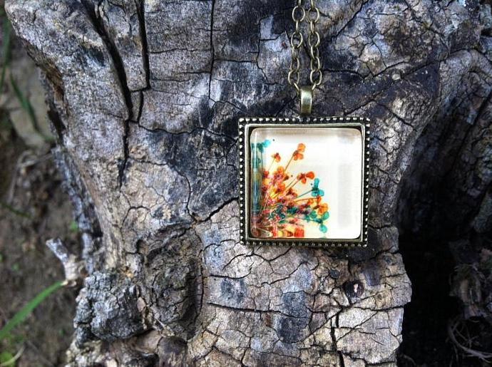 nature jewelry set - colorful bronzed necklace and ring with real pressed