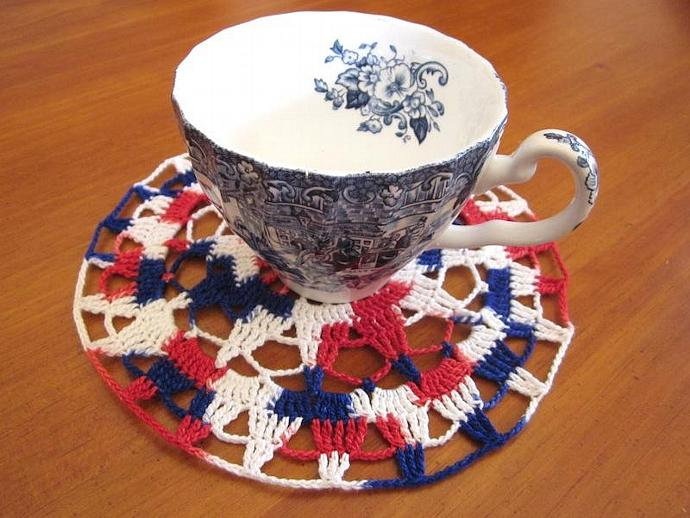 Red, White & Blue Crocheted Cotton Cloth Doily
