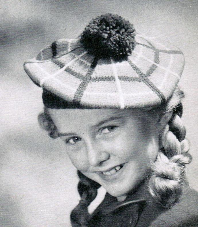 Girl's Tam o'Shanter Knit Cap and Crocheted Hat Pattern PDF Vintage Pattern