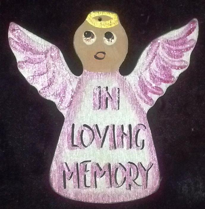 In Loving Memory Breast Cancer Hand painted Wooden Angel Ornament