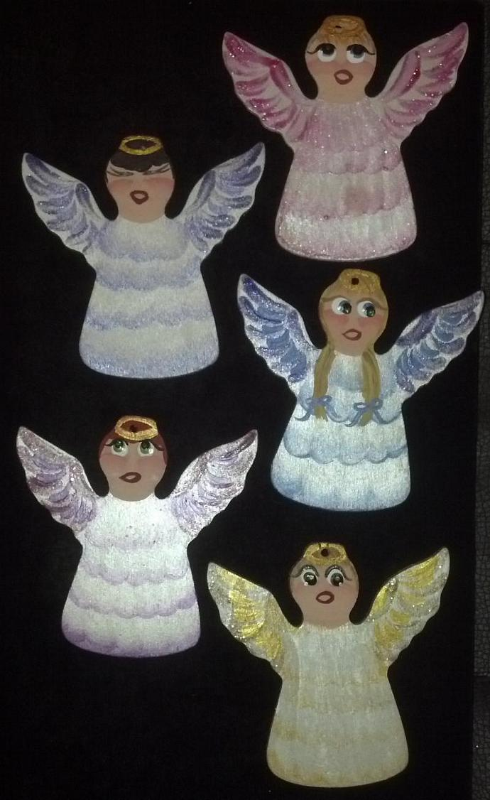 Set of 5 hand painted angels in various colors