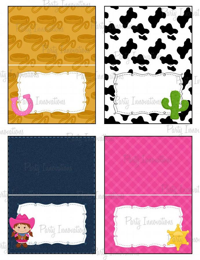 Printable Cowgirl Food Tent Cards