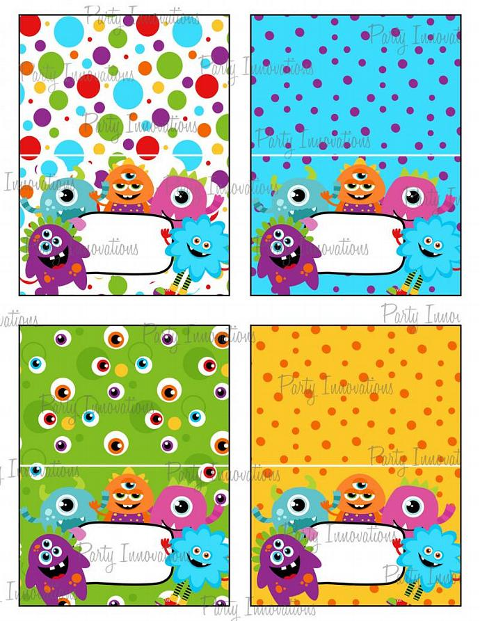 Printable Monsters  Food Tent Cards