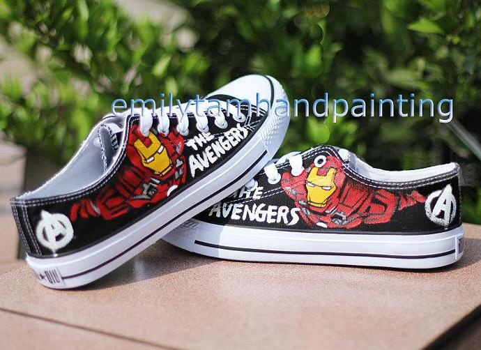 4d25f0d7a2bc ... get iron man hand paint converse sneakers custom converse all star  chuck taylor low a71b2 9ef5f ...