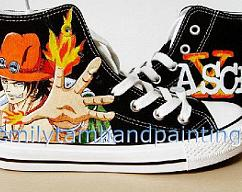 41bf3f33763e54 Custom Paint Sneakers Hand Painting One Piece Portgas D Ace Canvas Shoes  for One Piece Fans ·  95.00 · EmilyHandPainting · Pikachu Custom Converse  All Star ...