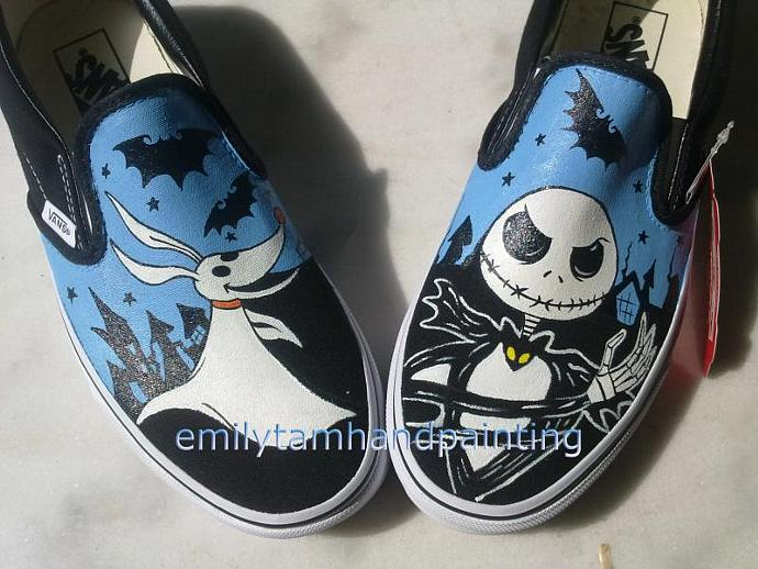 7349ed078aa82b Nightmare Before Christmas Converse Jack Skellington and Zero Vans Slip On  ...