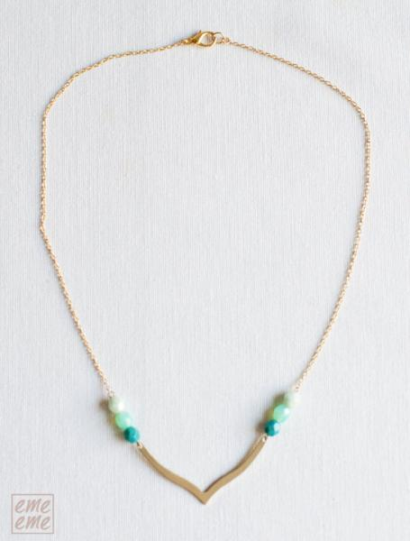 Turquoise brass chevron necklace - Art Deco necklace - Raw Brass V and turquoise