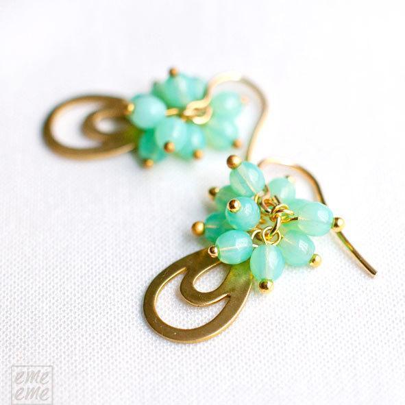 Mint Teardrop Earrings - Vintage raw brass and mint glass beads - drop earrings