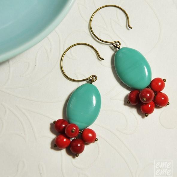 Turquoise Earrings - Oval turquoise glass bead and cherry red glass beads -