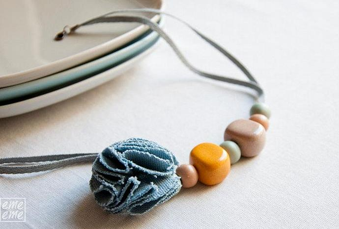 Ceramic Necklace -  Beige and yellow resin beads, salmon and blue ceramic beads