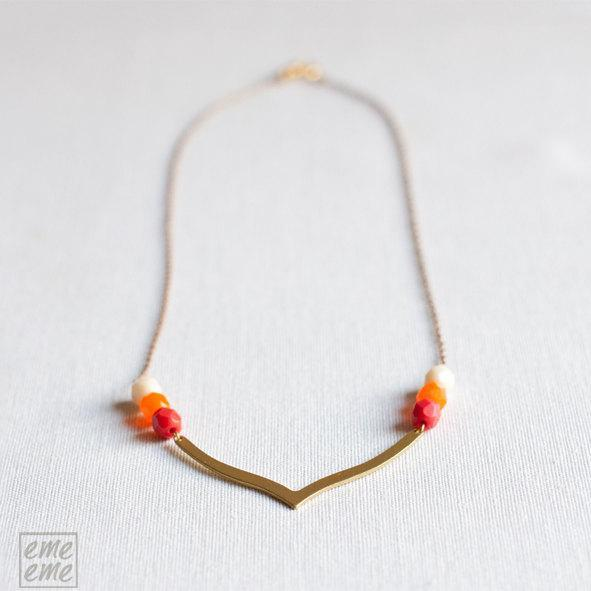 Orange brass chevron necklace  - Simple - everyday  jewelry - minimalist -