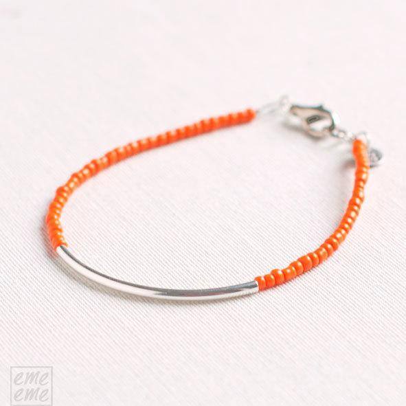 Orange Bar Bracelet - orange seed beads - minimalist bracelet - friendship