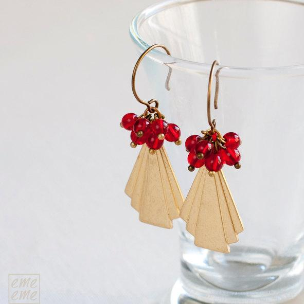 Triangle brass earrings with red glass beads - drop earrings - dangle earrings -