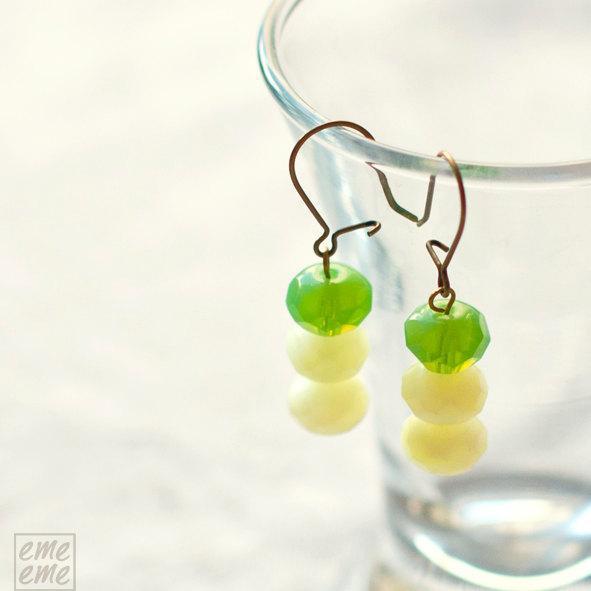Green Glass Earrings - Czech glass rondelles - green glass faceted beads -