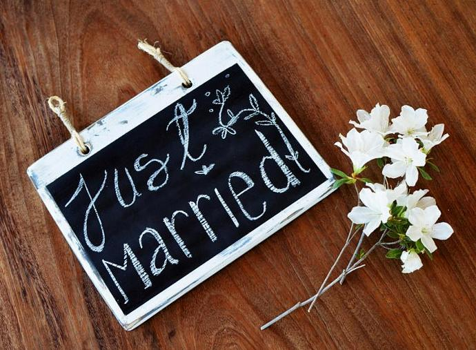 White Distressed Blackboard - Wood Chalkboard - wedding sign