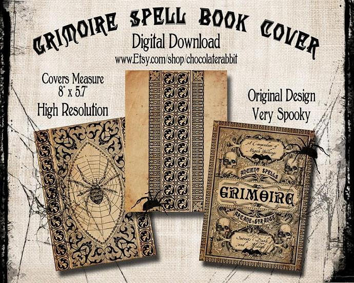 Printable Book Cover Labels : Grimoire spell book cover by chocolaterabbitgraphics on zibbet