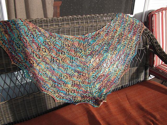 Hand-knit shawl - Tangled Garden